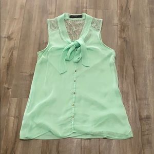 The Limited   Mint Green S/L Top   Lace Detail